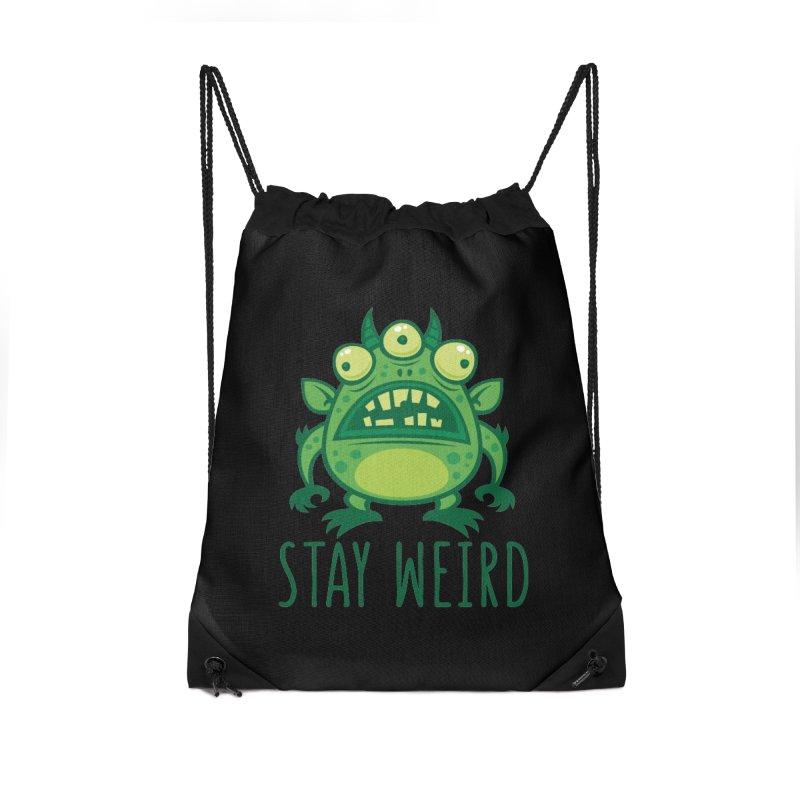 Stay Weird Alien Monster Accessories Drawstring Bag Bag by Fizzgig's Artist Shop