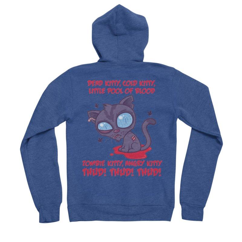 Dead Cold Angry Zombie Kitty Women's Sponge Fleece Zip-Up Hoody by Fizzgig's Artist Shop