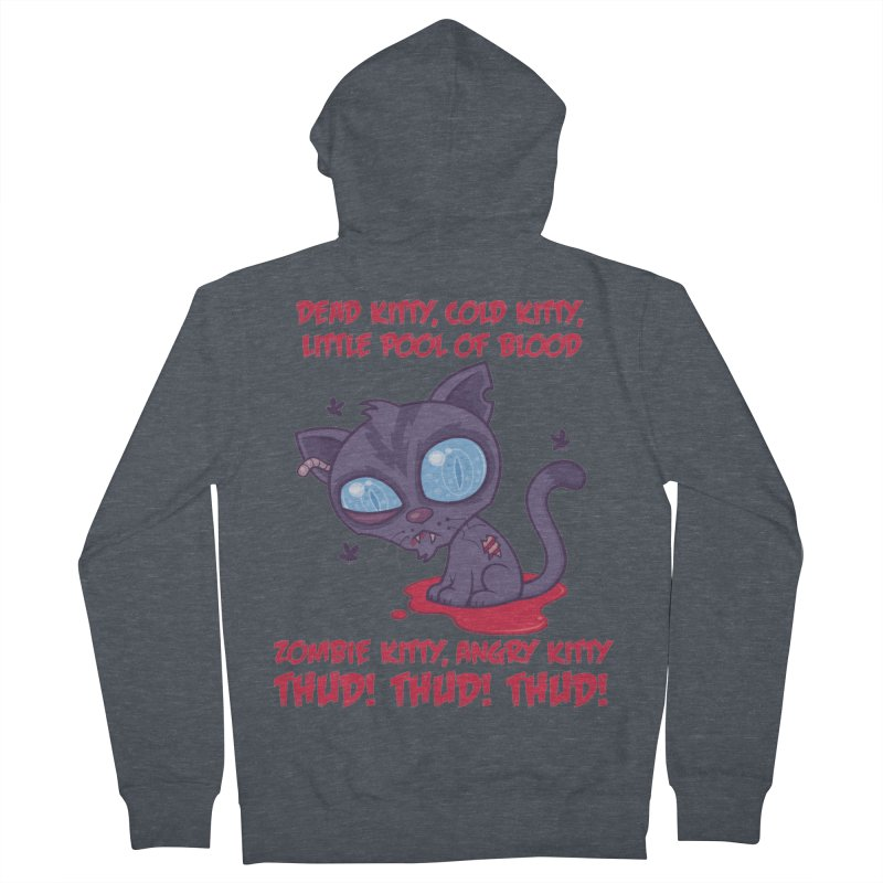 Dead Cold Angry Zombie Kitty Men's French Terry Zip-Up Hoody by Fizzgig's Artist Shop