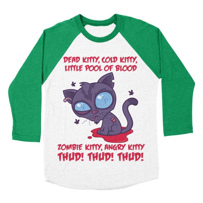 Dead Cold Angry Zombie Kitty Women's Baseball Triblend Longsleeve T-Shirt by Fizzgig's Artist Shop