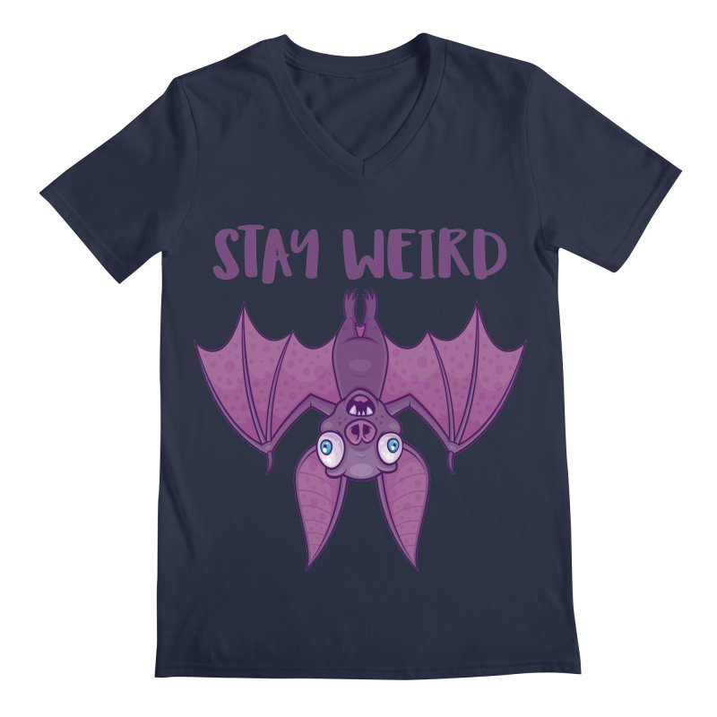 Stay Weird Cartoon Bat Men's Regular V-Neck by Fizzgig's Artist Shop