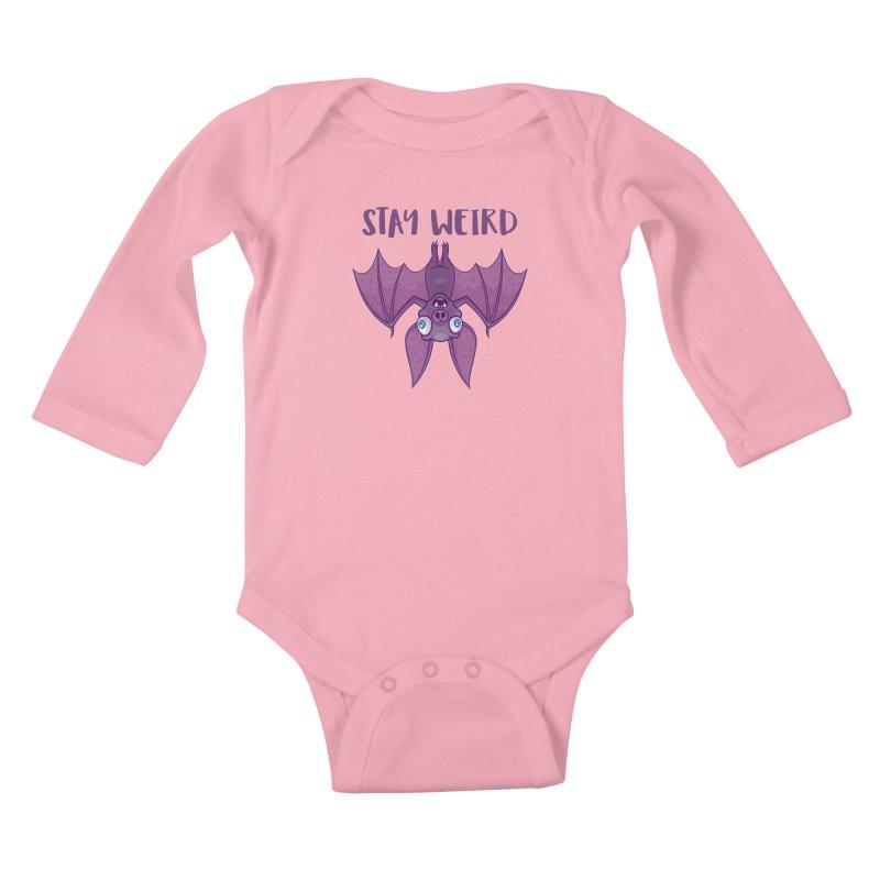 Stay Weird Cartoon Bat Kids Baby Longsleeve Bodysuit by Fizzgig's Artist Shop