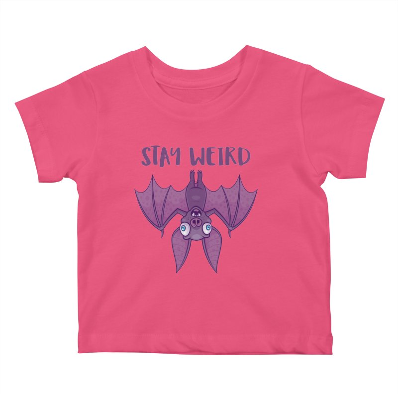 Stay Weird Cartoon Bat Kids Baby T-Shirt by Fizzgig's Artist Shop