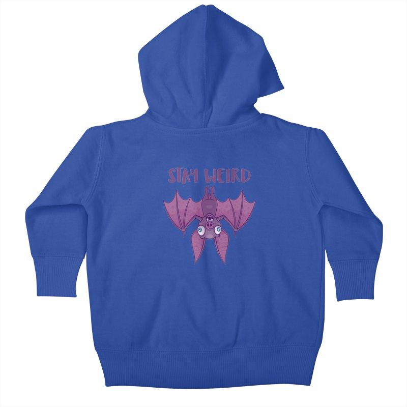 Stay Weird Cartoon Bat Kids Baby Zip-Up Hoody by Fizzgig's Artist Shop