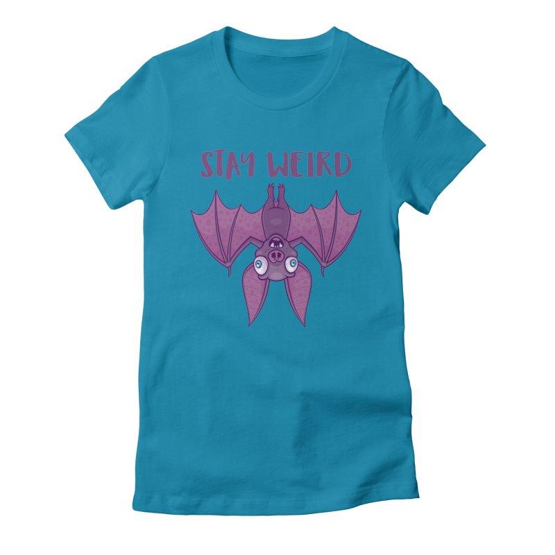 Stay Weird Cartoon Bat Women's Fitted T-Shirt by Fizzgig's Artist Shop