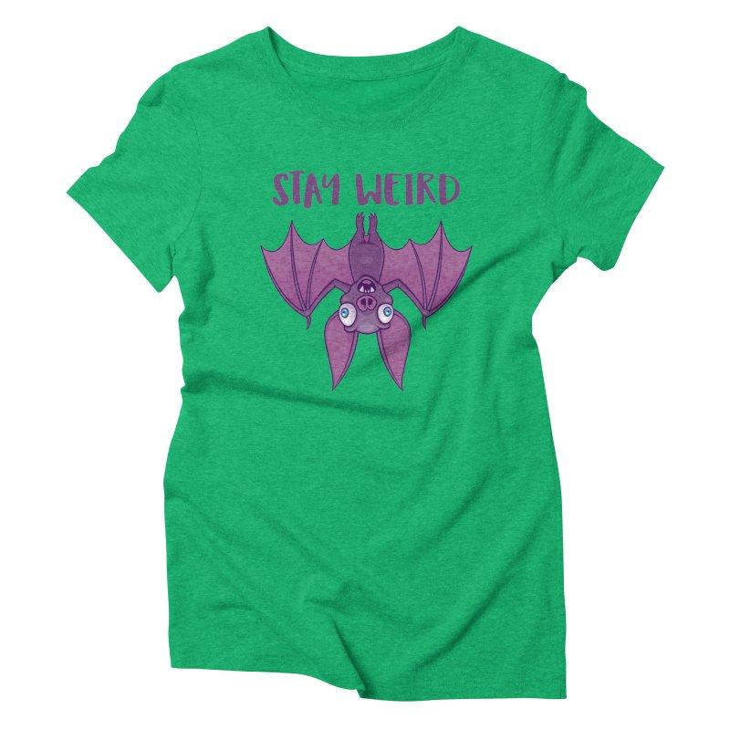 Stay Weird Cartoon Bat Women's Triblend T-Shirt by Fizzgig's Artist Shop