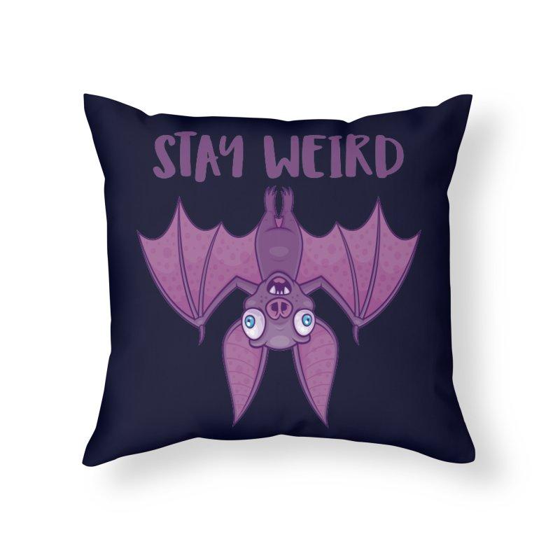 Stay Weird Cartoon Bat Home Throw Pillow by Fizzgig's Artist Shop