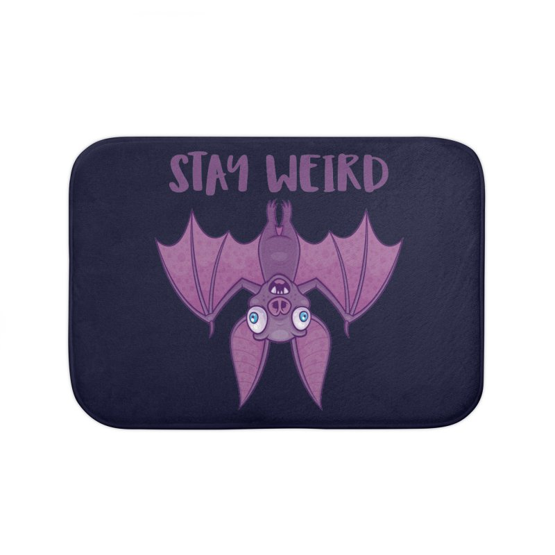 Stay Weird Cartoon Bat Home Bath Mat by Fizzgig's Artist Shop