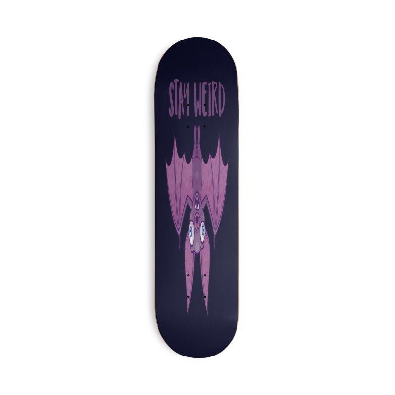 Stay Weird Cartoon Bat Accessories Deck Only Skateboard by Fizzgig's Artist Shop