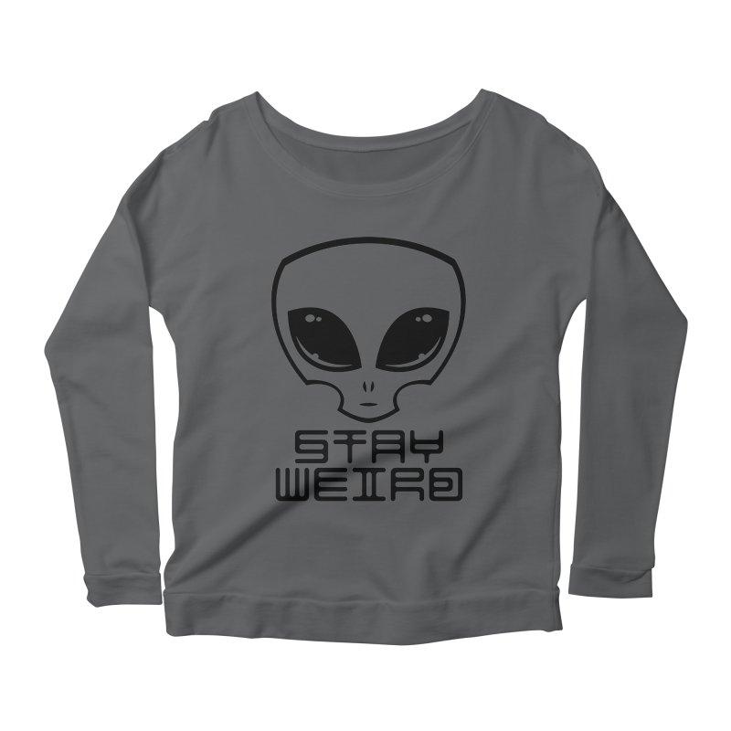 Stay Weird Alien Head Women's Scoop Neck Longsleeve T-Shirt by Fizzgig's Artist Shop