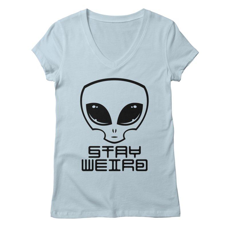 Stay Weird Alien Head Women's Regular V-Neck by Fizzgig's Artist Shop