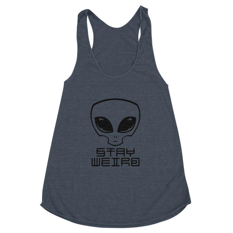 Stay Weird Alien Head Women's Racerback Triblend Tank by Fizzgig's Artist Shop
