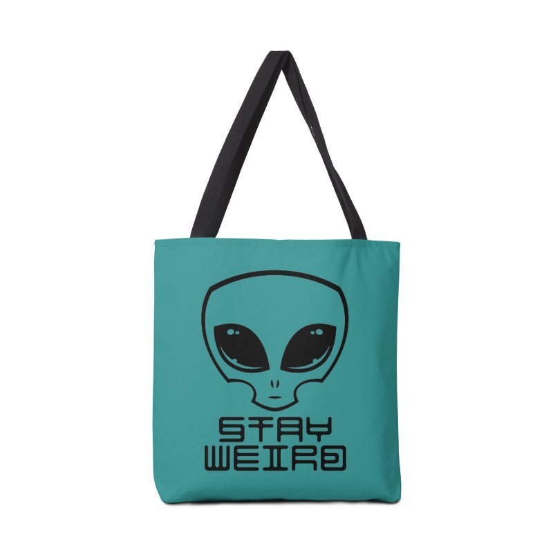 Stay Weird Alien Head Accessories Tote Bag Bag by Fizzgig's Artist Shop