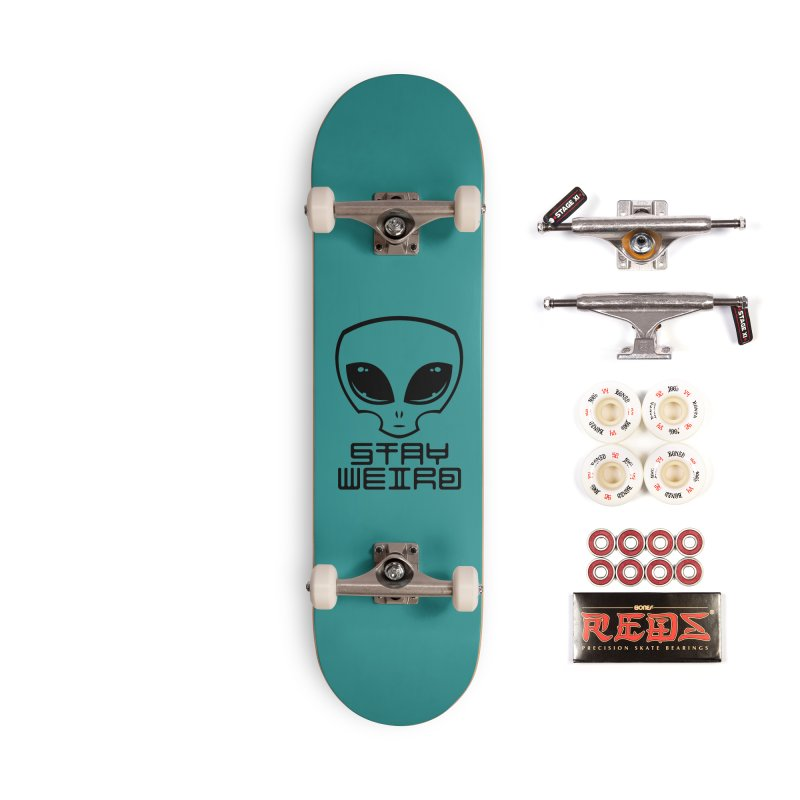 Stay Weird Alien Head Accessories Skateboard by Fizzgig's Artist Shop