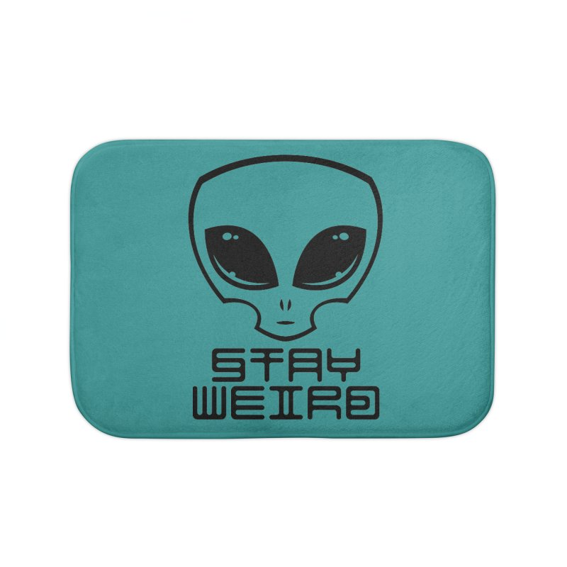 Stay Weird Alien Head Home Bath Mat by Fizzgig's Artist Shop
