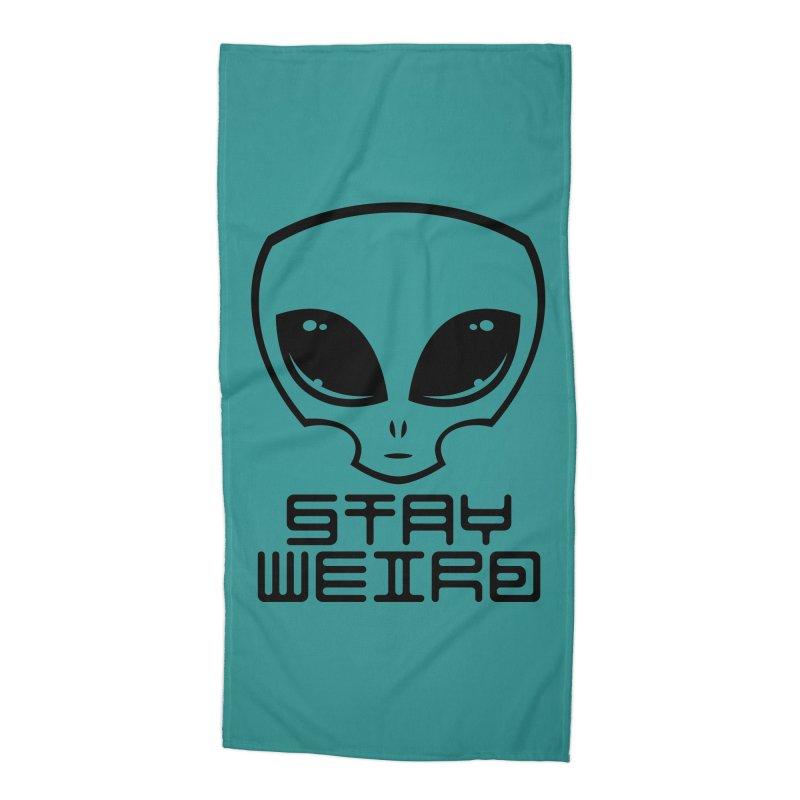Stay Weird Alien Head Accessories Beach Towel by Fizzgig's Artist Shop