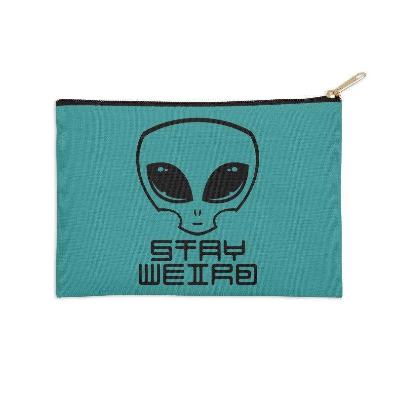 Stay Weird Alien Head Accessories Zip Pouch by Fizzgig's Artist Shop