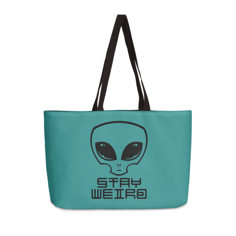 Stay Weird Alien Head Accessories Weekender Bag Bag by Fizzgig's Artist Shop