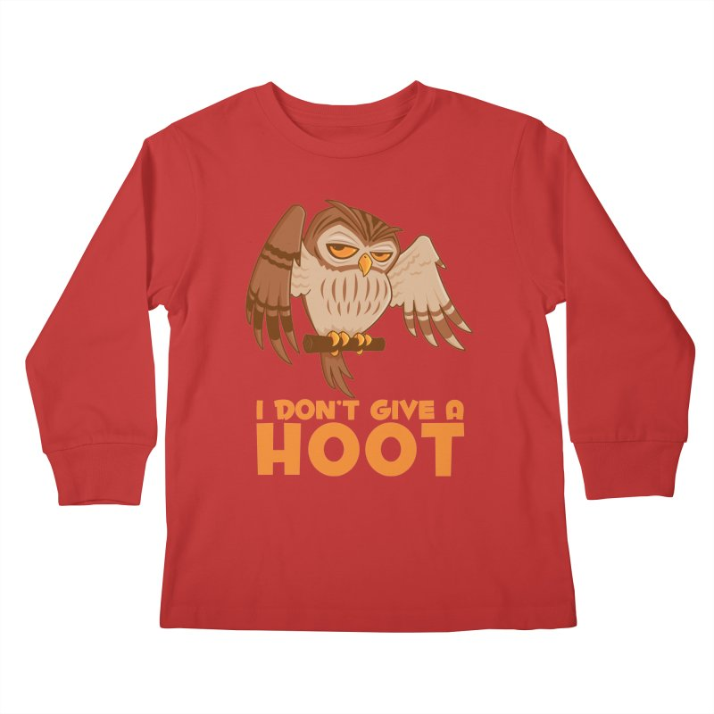 I Don't Give A Hoot Owl Kids Longsleeve T-Shirt by Fizzgig's Artist Shop