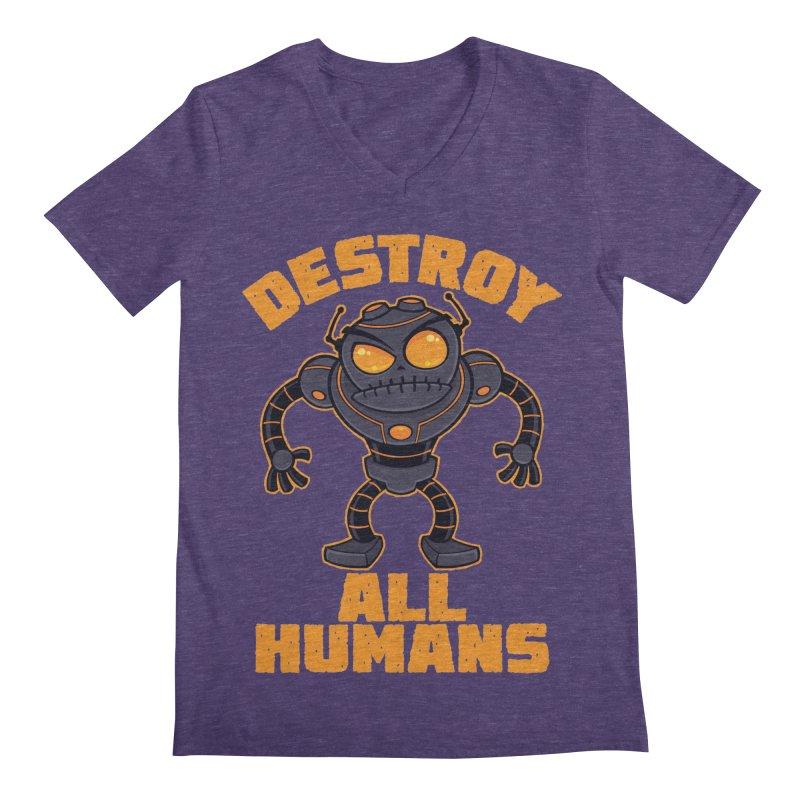 Destroy All Humans Angry Robot Men's Regular V-Neck by Fizzgig's Artist Shop