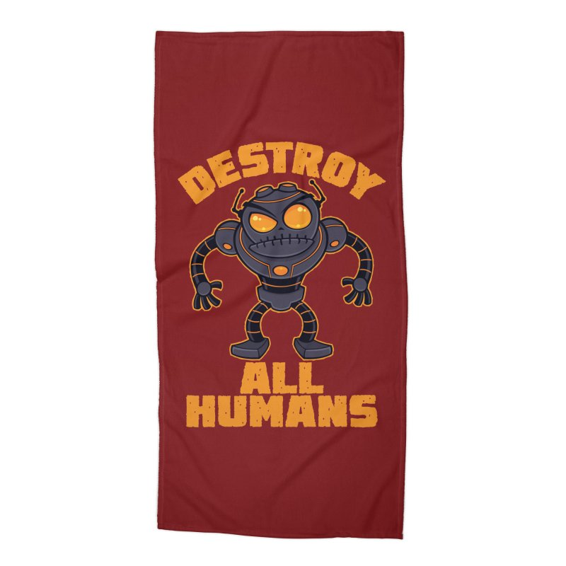 Destroy All Humans Angry Robot Accessories Beach Towel by Fizzgig's Artist Shop