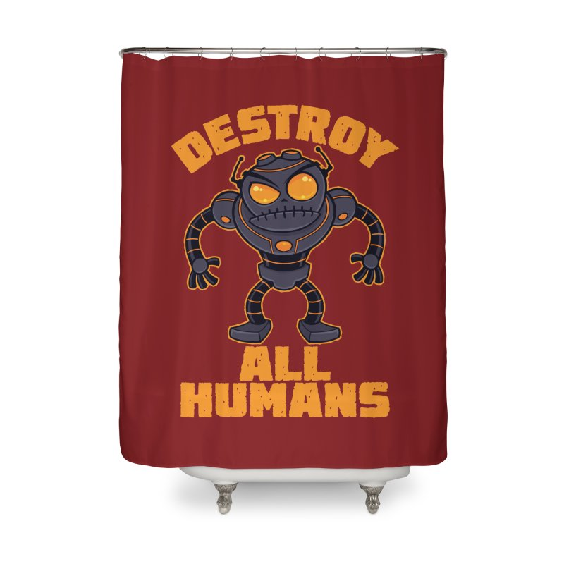 Destroy All Humans Angry Robot Home Shower Curtain by Fizzgig's Artist Shop