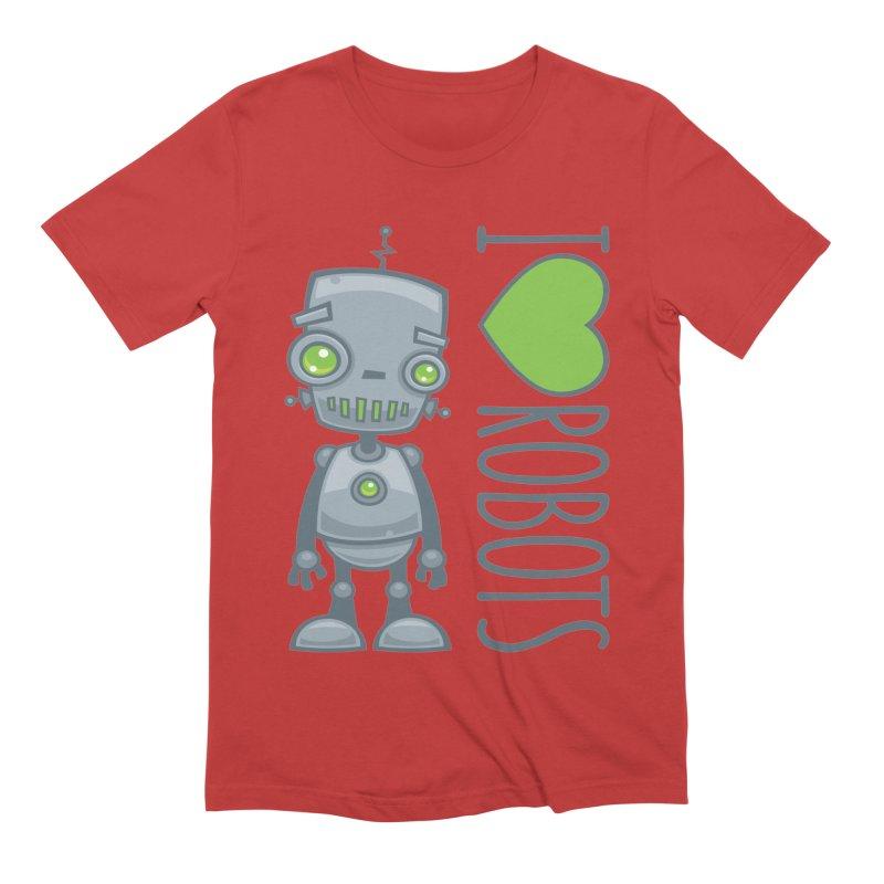 I Love Robots Men's Extra Soft T-Shirt by Fizzgig's Artist Shop