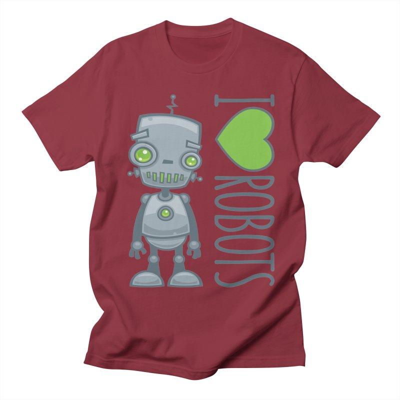 I Love Robots Men's Regular T-Shirt by Fizzgig's Artist Shop