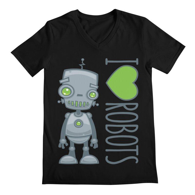 I Love Robots Men's Regular V-Neck by Fizzgig's Artist Shop