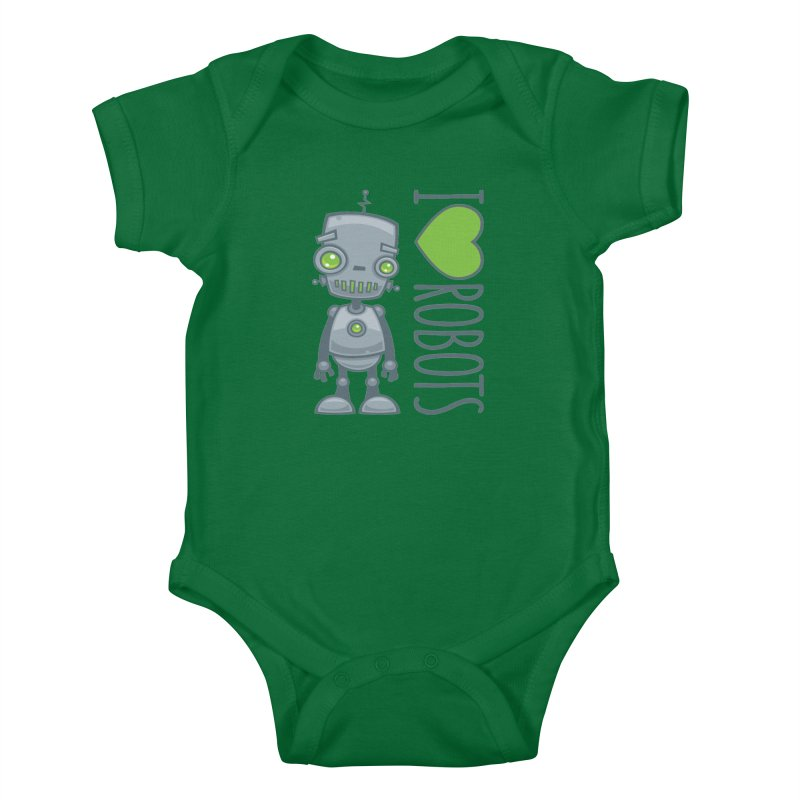 I Love Robots Kids Baby Bodysuit by Fizzgig's Artist Shop