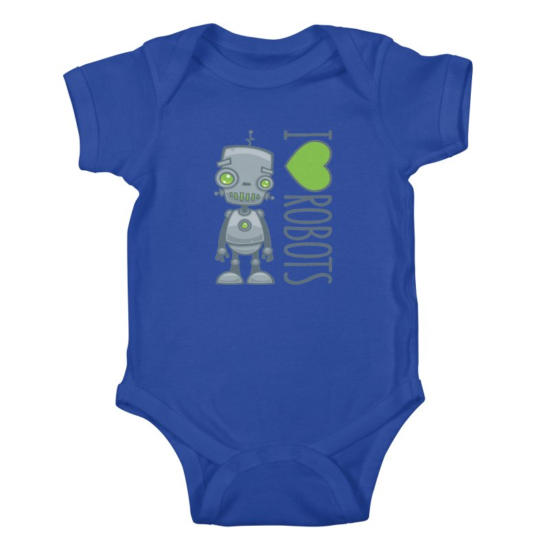 I Love Robots Kids Baby Bodysuit by Fizzgig's Artist Shop