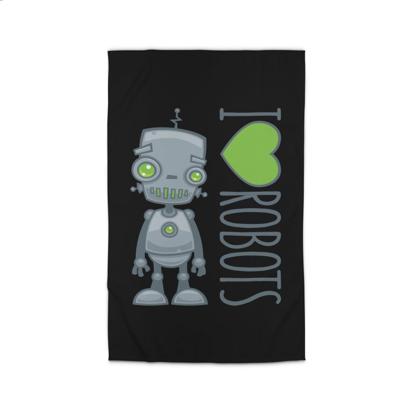 I Love Robots Home Rug by Fizzgig's Artist Shop