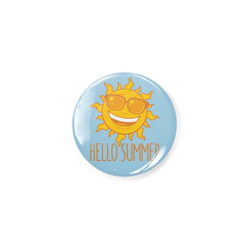Hello Summer Sun With Sunglasses Accessories Button by Fizzgig's Artist Shop