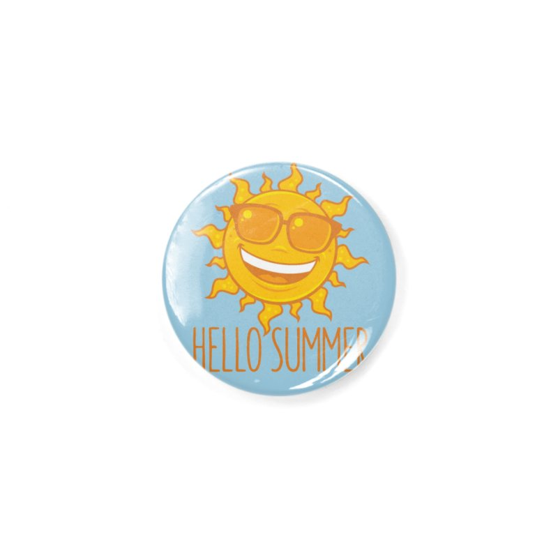 Hello Summer Sun With Sunglasses Accessories Button by Fizzgig's Artist Shop