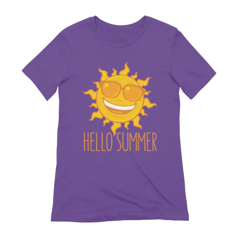 Hello Summer Sun With Sunglasses Women's Extra Soft T-Shirt by Fizzgig's Artist Shop