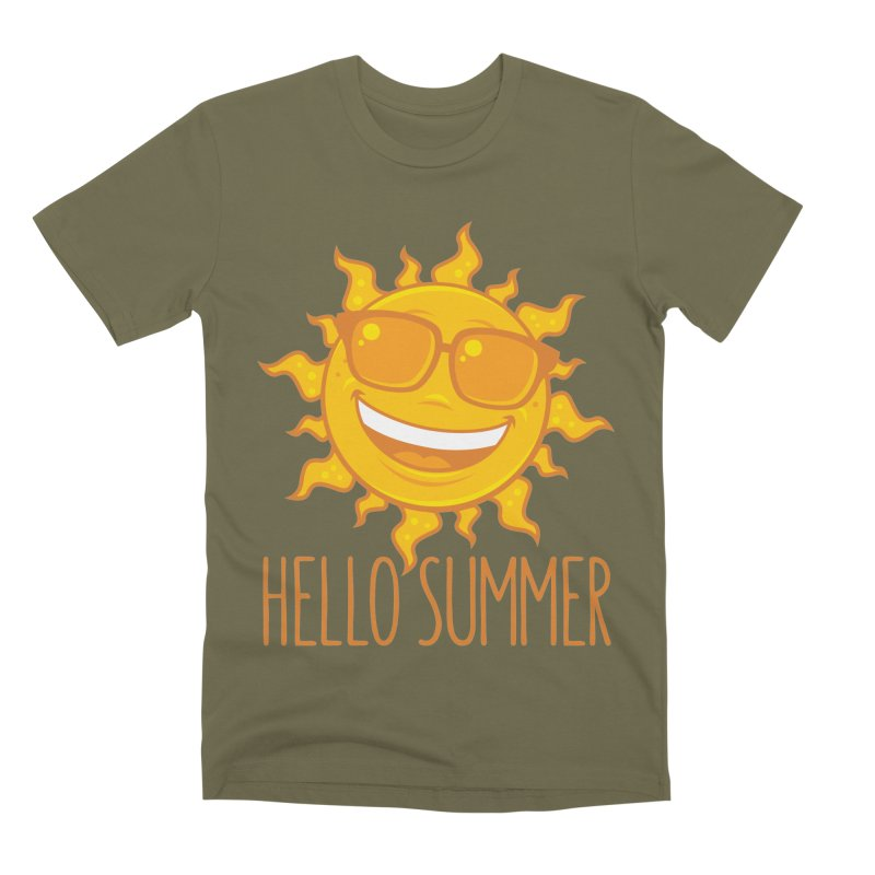 Hello Summer Sun With Sunglasses Men's Premium T-Shirt by Fizzgig's Artist Shop