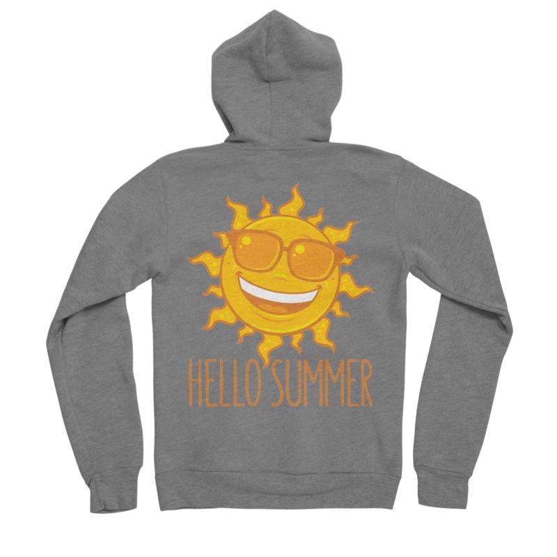 Hello Summer Sun With Sunglasses Women's Sponge Fleece Zip-Up Hoody by Fizzgig's Artist Shop