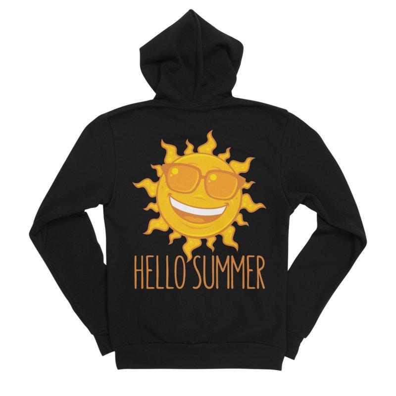 Hello Summer Sun With Sunglasses Men's Sponge Fleece Zip-Up Hoody by Fizzgig's Artist Shop