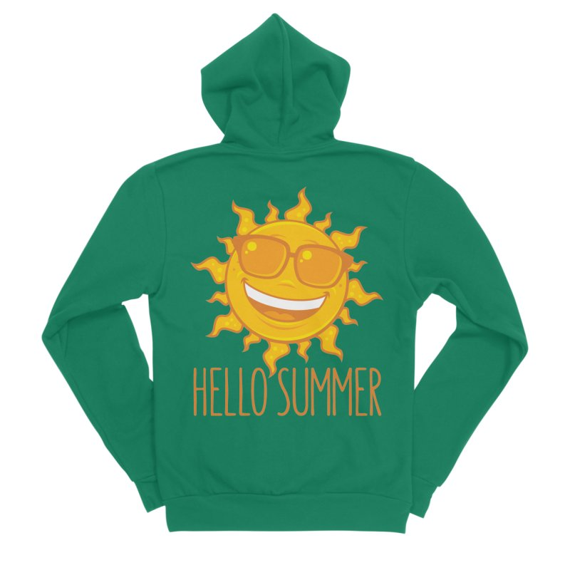 Hello Summer Sun With Sunglasses Men's Sponge Fleece Zip-Up Hoody by Fizzgig's Artist Shop