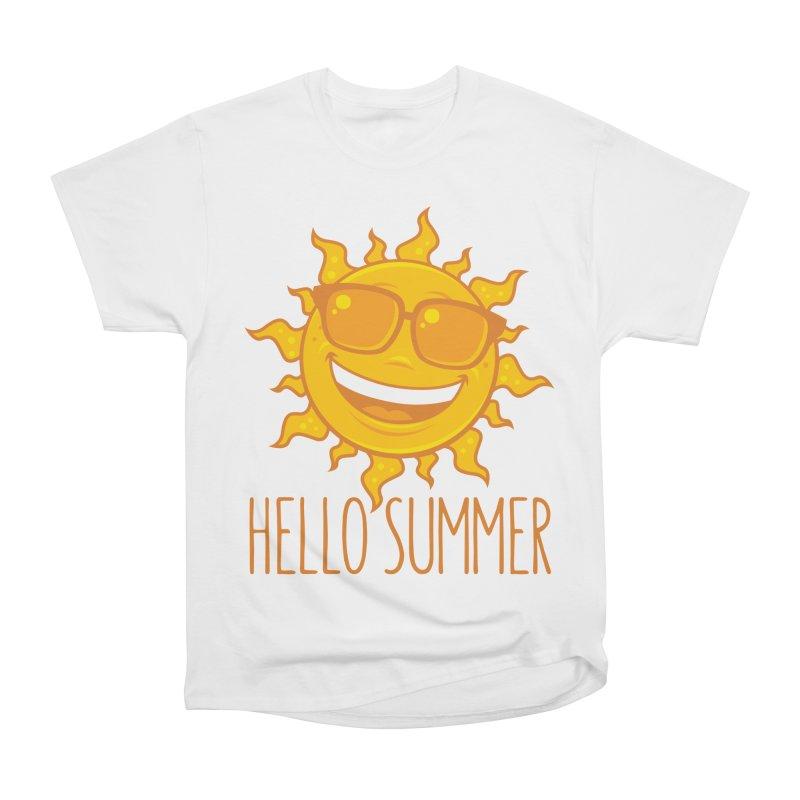 Hello Summer Sun With Sunglasses Men's Heavyweight T-Shirt by Fizzgig's Artist Shop