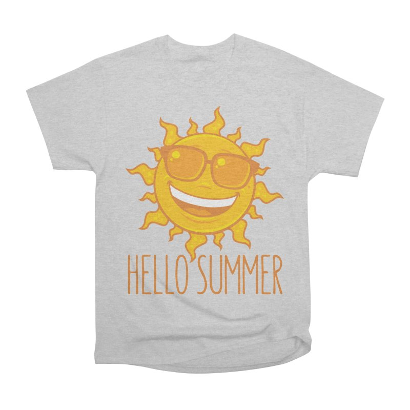 Hello Summer Sun With Sunglasses Men's Heavyweight T-Shirt by Fizzgig's Artist Shop