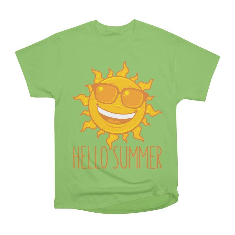 Hello Summer Sun With Sunglasses Women's Heavyweight Unisex T-Shirt by Fizzgig's Artist Shop