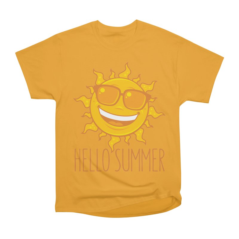 Hello Summer Sun With Sunglasses Women's Heavyweight Unisex T-Shirt by Fizzgig's Artist Shop