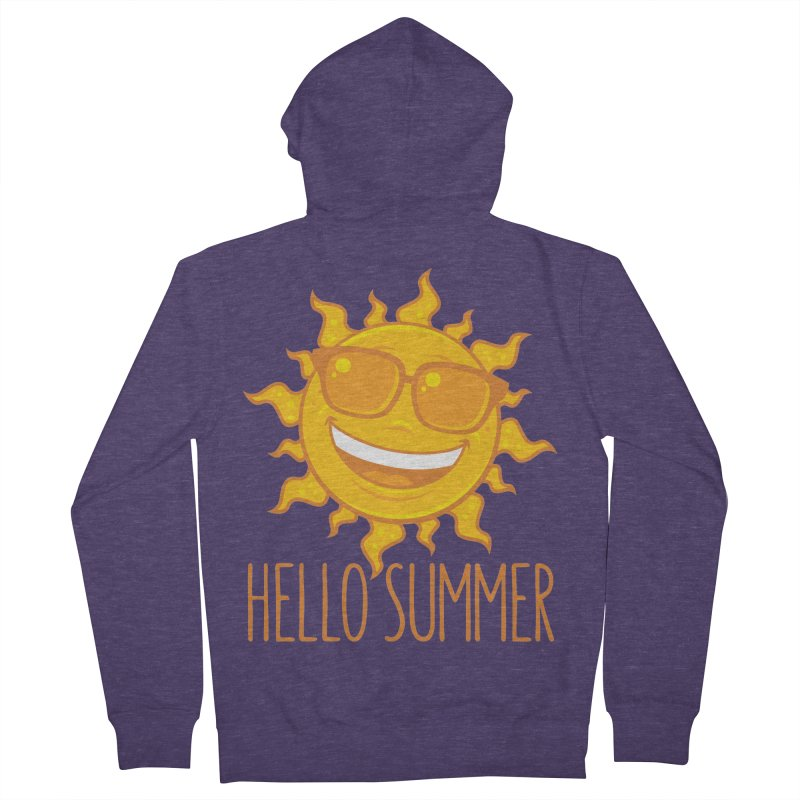 Hello Summer Sun With Sunglasses Men's French Terry Zip-Up Hoody by Fizzgig's Artist Shop