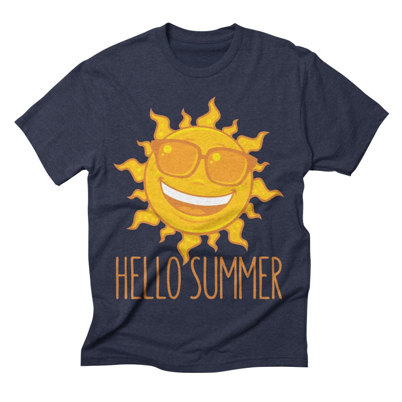 Hello Summer Sun With Sunglasses Men's Triblend T-Shirt by Fizzgig's Artist Shop