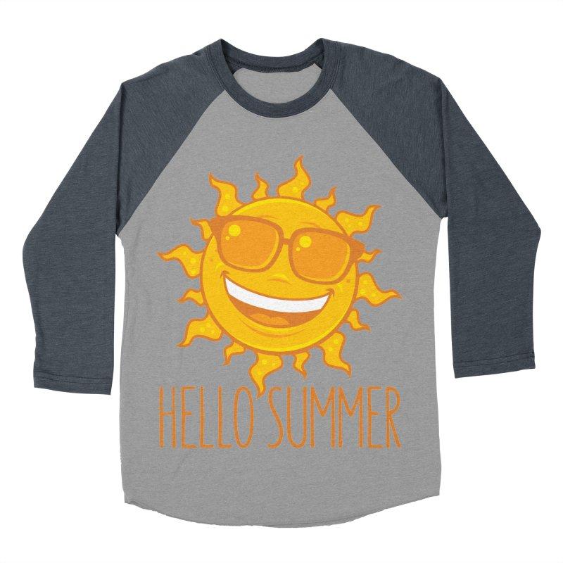 Hello Summer Sun With Sunglasses Men's Baseball Triblend Longsleeve T-Shirt by Fizzgig's Artist Shop