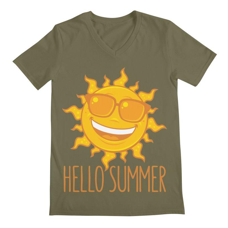 Hello Summer Sun With Sunglasses Men's Regular V-Neck by Fizzgig's Artist Shop