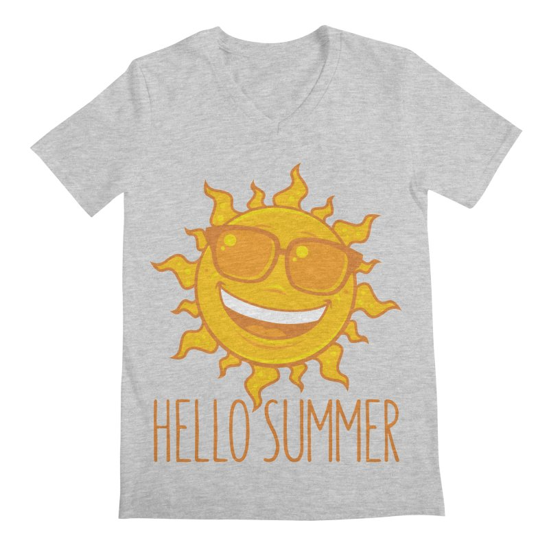 Hello Summer Sun With Sunglasses Men's Regular V-Neck by Fizzgig's Artist Shop