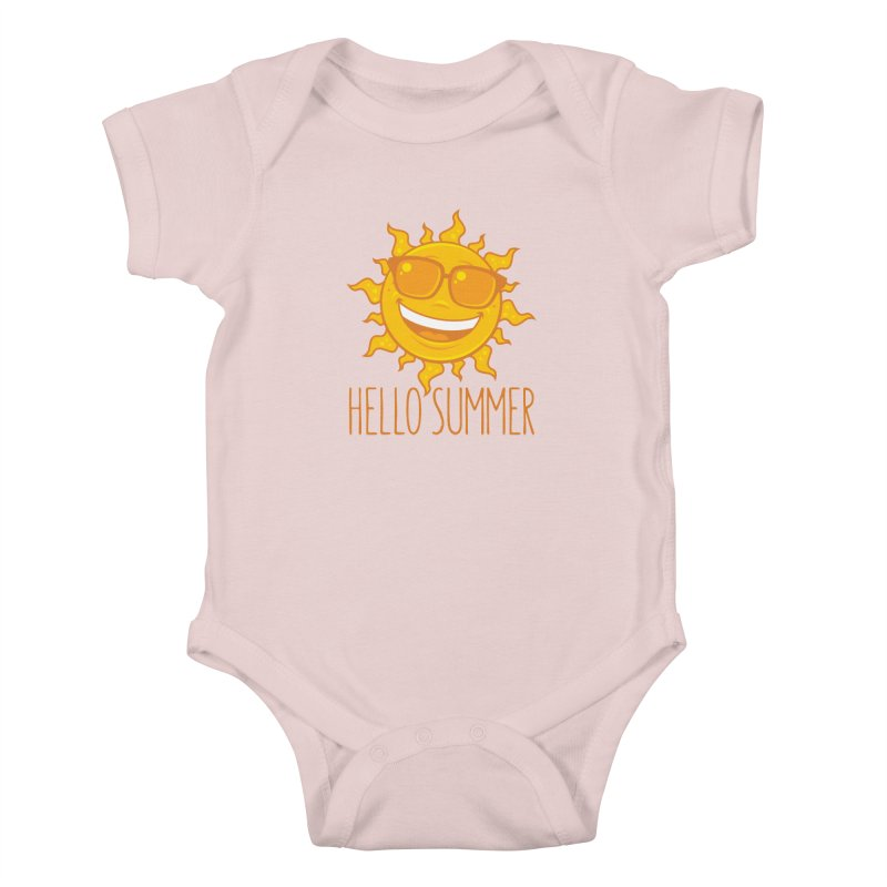 Hello Summer Sun With Sunglasses Kids Baby Bodysuit by Fizzgig's Artist Shop