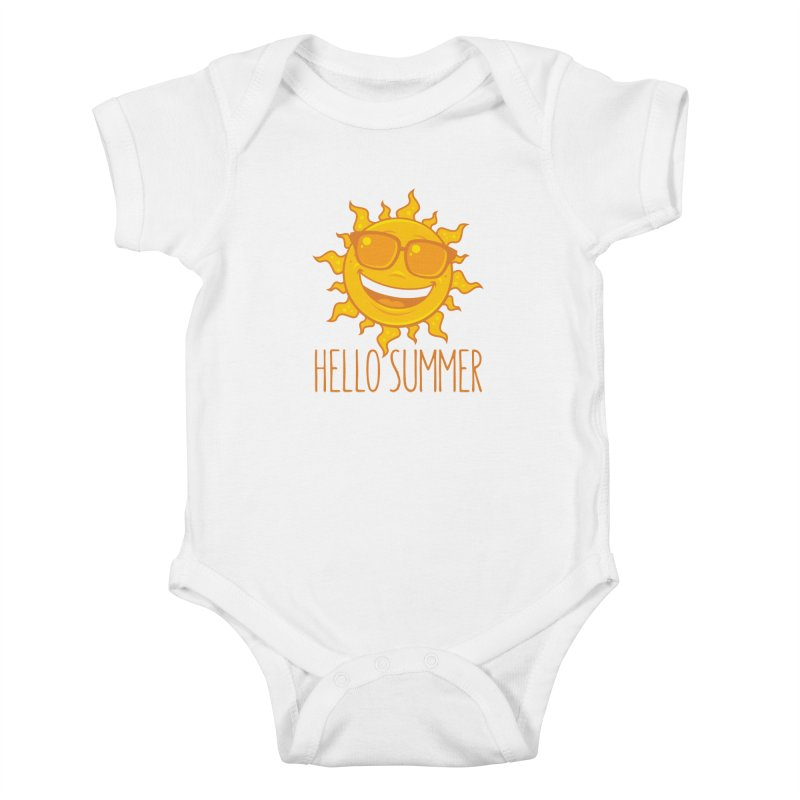 Hello Summer Sun With Sunglasses Kids Baby Bodysuit by Fizzgig's Artist Shop